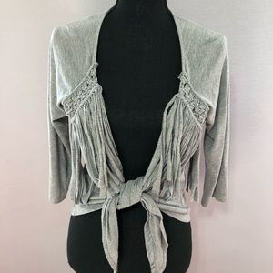 Mustard Seed Fringed Front tie Gray Sweater! Med